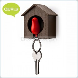 Sparrow Keyring (brown house/Red)