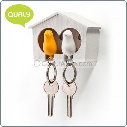 Duo Sparrow-Key Ring (WH/OR)