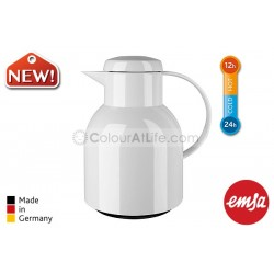 EMSA | SAMBA Vacuum Jug (white/1.0L)|Quick Press Closure|Made in Germany