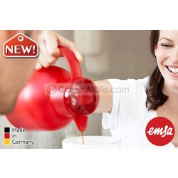 EMSA | SAMBA Vacuum Jug (red/1.0L)|Quick Press Closure|Made in Germany