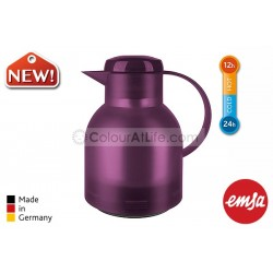 EMSA | SAMBA Vacuum Jug (aubergine/1.0L)|Quick Press Closure|Made in Germany