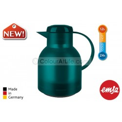 EMSA | SAMBA Vacuum Jug (turquoise/1.0L)|Quick Press Closure|Made in Germany